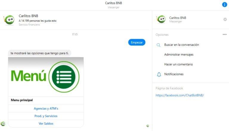 Chatbot en Bolivia: Carlitos BNB