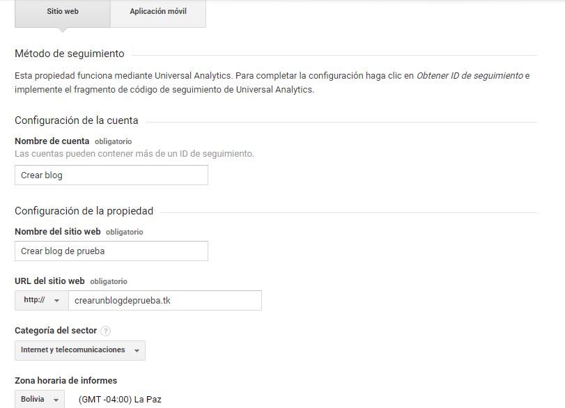 Paso 4 para la creación de cuenta para usar Google Analytics