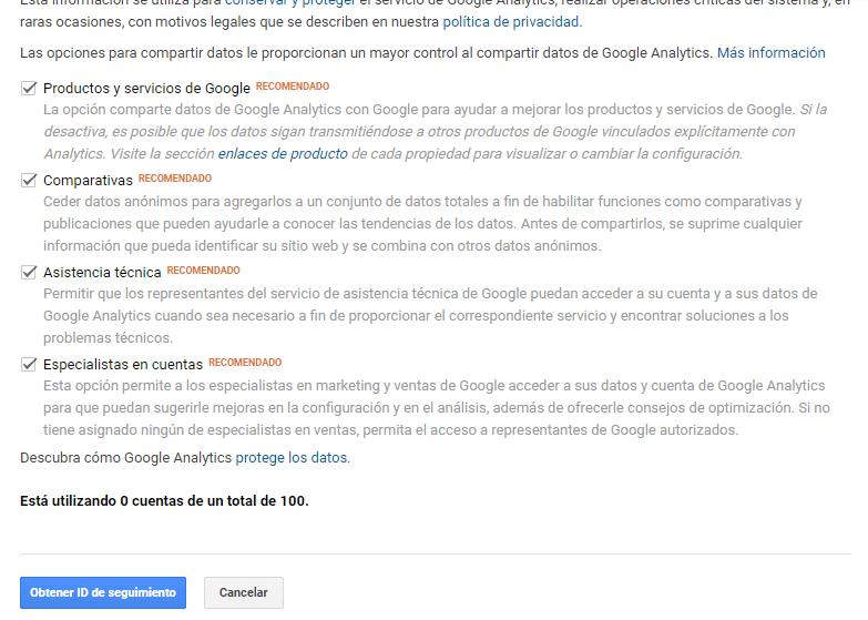 Paso 4.2 para la creación de cuenta para usar Google Analytics