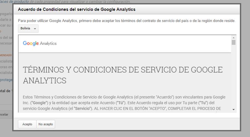 Paso 5 para la creación de cuenta para usar Google Analytics