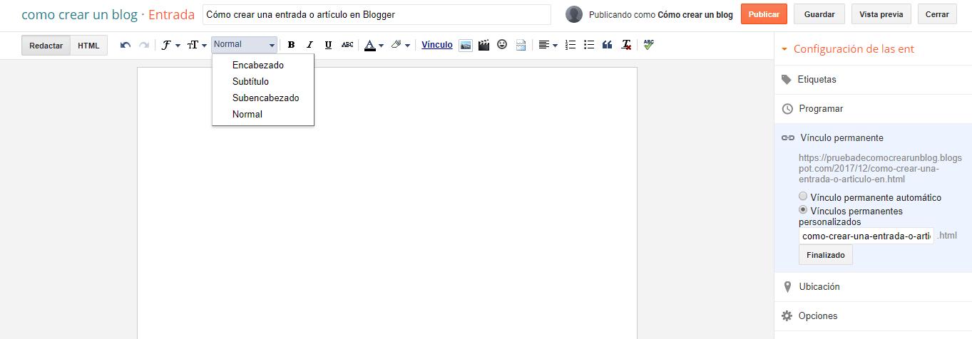 Creando una entrada o artículo en Blogger
