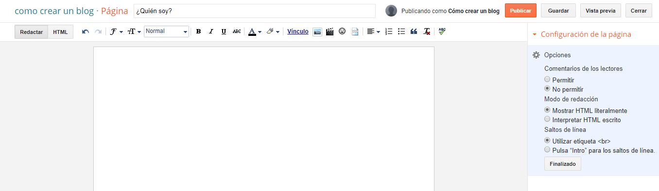 Creando página en Blogger
