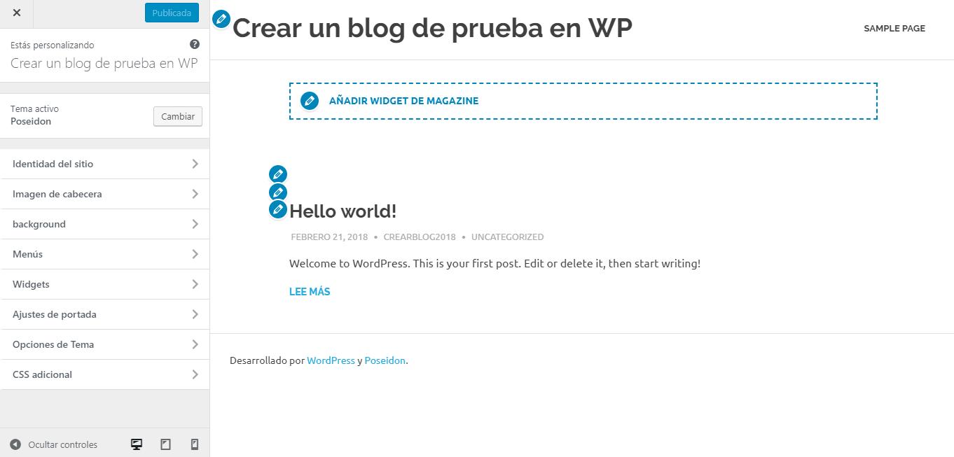 Paso 10 en ajustes básicos para crear un blog en WordPress.org