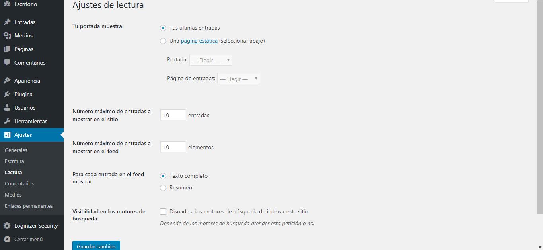 Paso 19 en ajustes básicos para crear un blog en WordPress.org