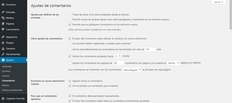 Paso 20.1 en ajustes básicos para crear un blog en WordPress.org