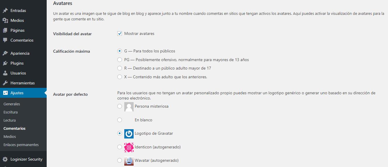 Paso 20.2 en ajustes básicos para crear un blog en WordPress.org