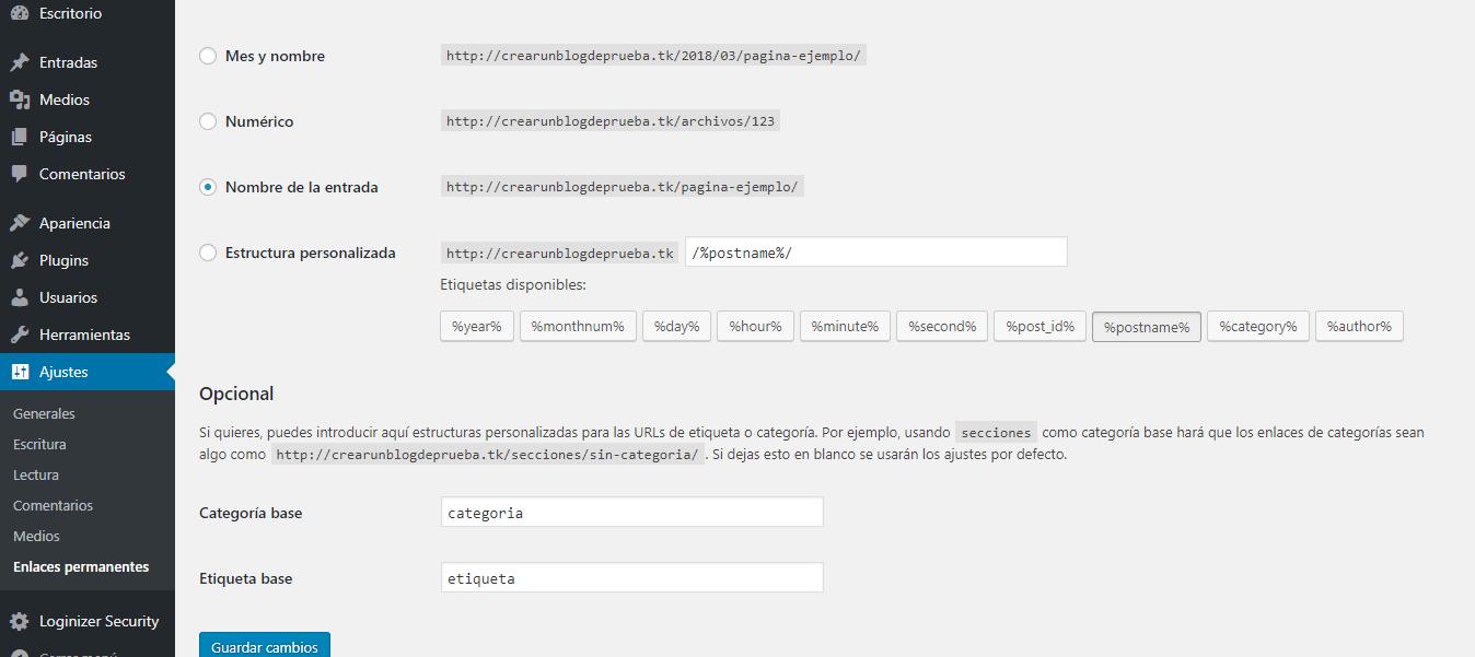 Paso 21 en ajustes básicos para crear un blog en WordPress.org