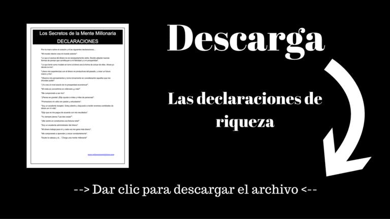 Descarga gratis las declaraciones de riqueza en español del libro Los secretos de la mente millonaria de Harv Eker