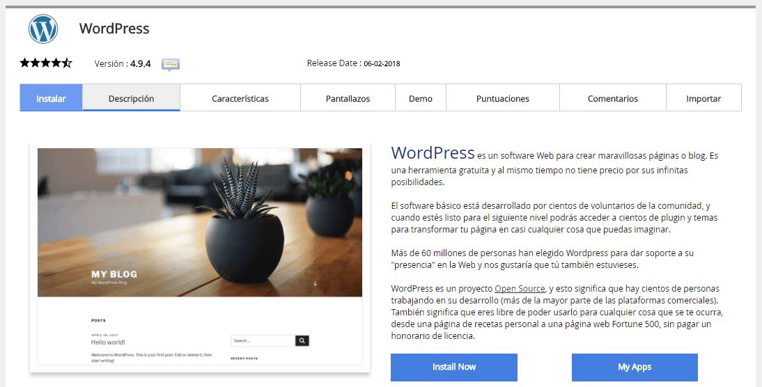Paso 2 para instalar WordPress desde cPanel