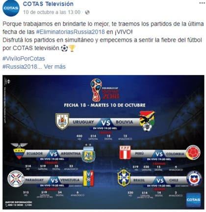 Caso de la marca en redes sociales en Bolivia: Cotas Televisión en Facebook