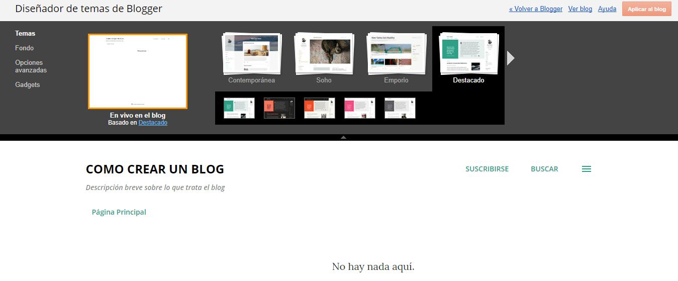 Paso 1 para personalizar el tema en Blogger