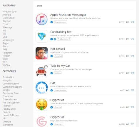 Encuentra en Botlist, bot en diferentes plataformas y categorías