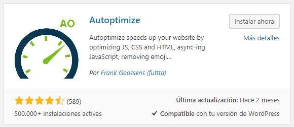 Plugin Autoptimize para instalar en WordPress.org