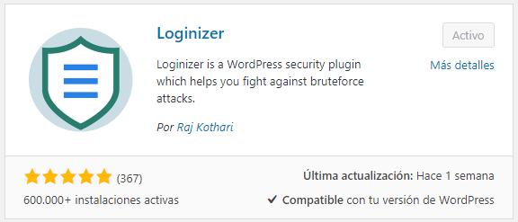 Plugin Loginizer para instalar en WordPress.org