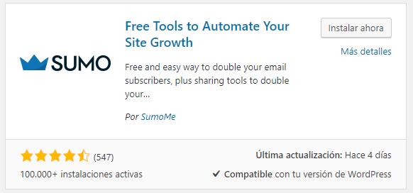 Plugin SumoMe para instalar en WordPress.org
