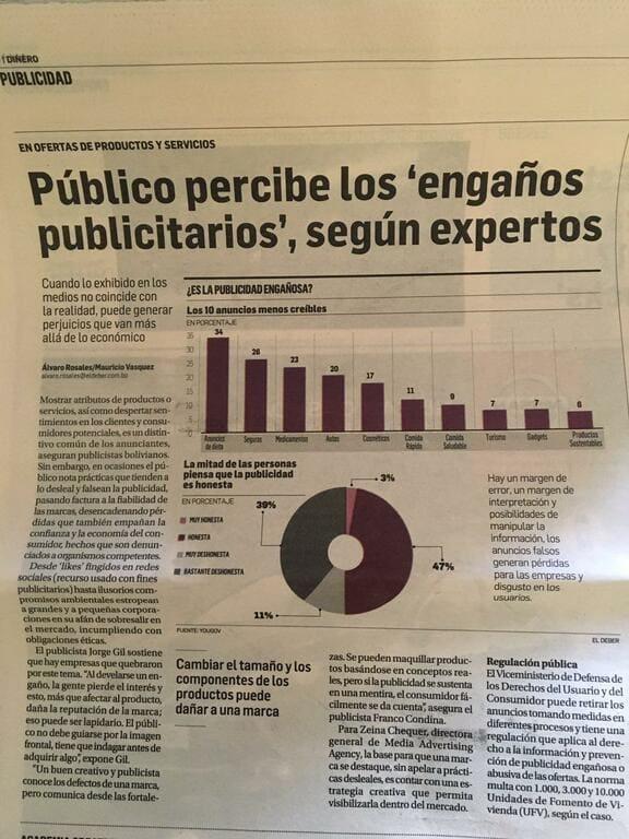 El público perciben los engaños en la publicidad en Bolivia